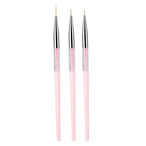 Pennello per unghie, 3pcs Nail Art Punteggiatura Liner Brush UV Gel Pittura Penna Strumento di disegno Set maniglia di strass(01)