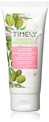Timely, crema mani nutriente e idratante con olio di oliva, confezione da 4 x 75 ml