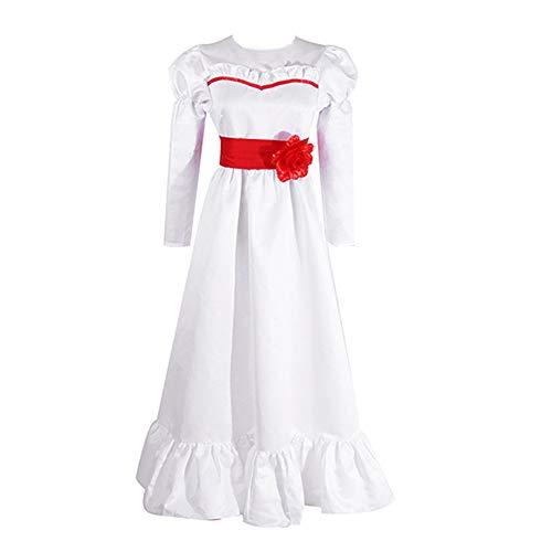 Costume Annabelle Donna Annabelle Maschera e Parrucca Maxi Abito Bianco a Maniche Lunghe in Costume Cosplay di Halloween con Maschera Annabelle