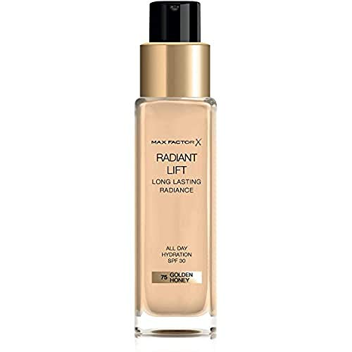 Max Factor Fondotinta Liquido Radiant Lift, Formula Antietà a Lunga Durata con SPF 30 ed Acido Ialuronico, 75 Golden Honey, 30 ml