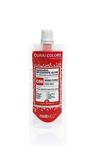 HAIRMED - Cura e Colore - Maschera Riflessante Capelli - Bagno di Colore Senza Ammoniaca - Gloss C66 - Rosso Fuoco - 40 ml