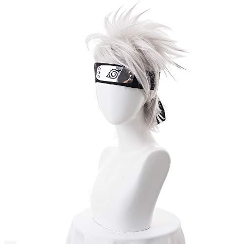 Anime NARUTO Hatake Kakashi Cosplay Parrucca Argento Bianco Breve Resistente Al Calore Parrucche sintetiche per capelli + Fascia per capelli + Maschera