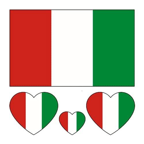 40pcs bandiera nazionale tatuaggi temporanei calcio squadra di calcio adesivi decalcomanie campionato europeo EURO 2021 2020 Coppa mondo viso corpo braccio bambino adulto impermeabile (Italia)