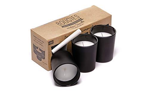 zonka Bougies set di 3 candele profumate alla Vaniglia cera tea lights soia naturale profumata vetro nero aromaterapia candela relax bagno grande regalo compleanno