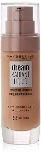 Maybelline New York Fondotinta Dream Radiant Liquid, Fondotinta liquida, 45 Light Honey, 30 ml