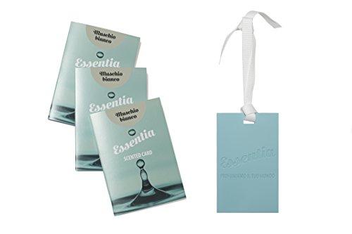 ESSENTIA CARDS PROFUMATE AL SILICONE- SET 3 CARDS FRAGRANZA MUSCHIO BIANCO, IDEALI PER PROFUMARE CASSETTI,ARMADI,BORSE,AUTO.