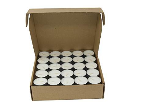 Coraz Home Confezione da 100 lumini Naturali 100% Cera vegetale, Senza paraffina, Tempo di combustione 4 Ore in Alluminio, Adatti all'ambiente, Senza plastica… (Cardboard Box, 100 Tea Lights)