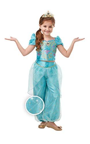 RUC7O|#Rubie's- Jasmine Glitter/Sparkle DLX Inf Costume Ragazze, Azzurro, L, 300166-L