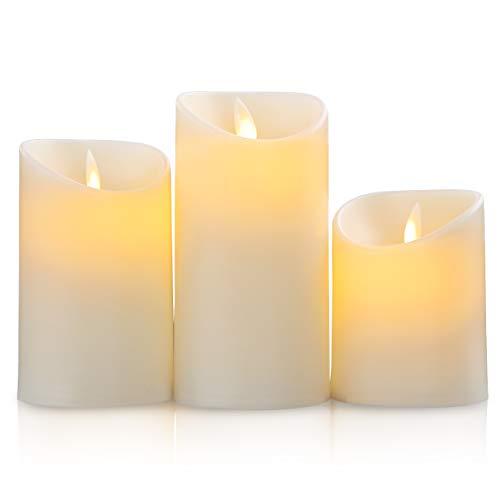 SALCAR LED a lume di candela 3 tipi di set, 3AAA a batteria LED a luce oscillante, 15 cm, 12,5 cm, 10 cm di altezza a lume di candela decorativa per cena, compleanno, festa di Natale - Giallo
