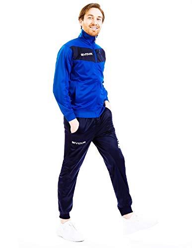 menitashop Tuta GIVOVA Uomo Donna Visa Fitness Calcio Blu Nero Bianco Giallo Rosso (Azzurro/Blu, M)