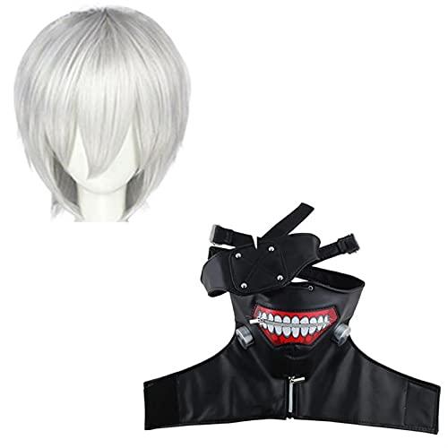 BFBMY - Costume da cosplay anime Tokyo Ghoul Kaneki Ken camicia pantaloncini parrucca top uomo donna Halloween partito vestito unisex (colore : Pu maschera parrucca, taglia: S)