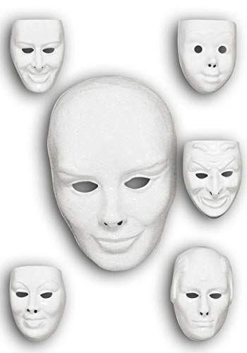 Visi plastica maschere bianche teatro varie espressioni