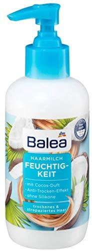 Balea Latte per capelli idratati, 200 ml, per capelli secchi e danneggiati, effetto anti-secchezza e con profumo di cocco, senza siliconi, tollerabilità cutanea dermatologicamente testata