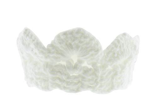 (Bianco) Fascia per capelli per Bambina Neonata in Lana - Paraorecchie - Corona - Coroncina - Tiara