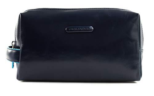 PIQUADRO Beauty 2 comparti in pelle - Accessori da viaggio- Custodia per trucchi Uomo, Blu Notte, Talla única - BY5011B2-BLU2