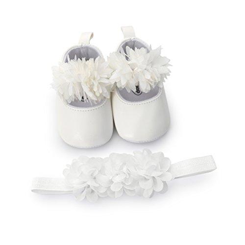 Scarpe Neonata Fiore con Cerchietto Battesimo Set Regalo, Bambina Anti Scivolo Mary Jane Scarpe per Neonata (6-12 Mesi, Bianca)