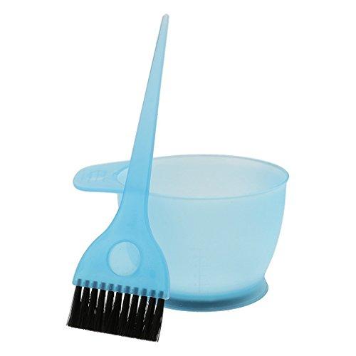 SODIAL parrucchiere Capelli Colorante Ciotola di colore Miscelazione del colore Pettine Spazzola Kit Impostato Strumenti di tinta - come descritto, Blu