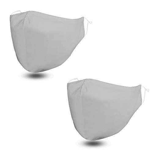 Maschere viso in tessuto - set di 2 mascherine colorate | Mascherina lavabile con filtro tasca | Mascherine donna | Mascherine riutilizzabili | Maschere per il viso regolabile | (Taglia M, Argento)
