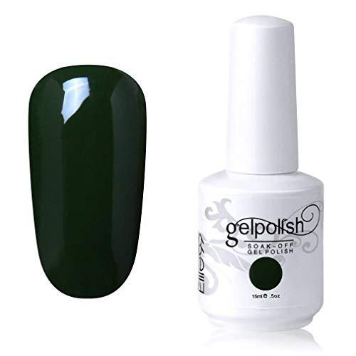 Elite99 Smalto Semipermente per Unghie in Gel UV LED Smalti per Unghie Soak Off per Manicure Verde Scuro 15ML - 1436