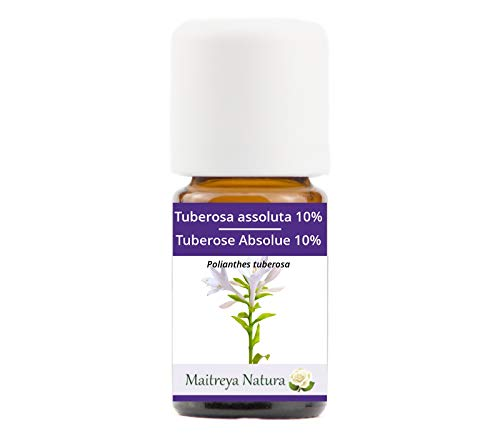Maitreya Natura Olio Essenziale TUBEROSA ASSOLUTA 10%, 100% puro e naturale, 5ml - aromaterapia, cosmetica - qualità controllata e certificata, vegan
