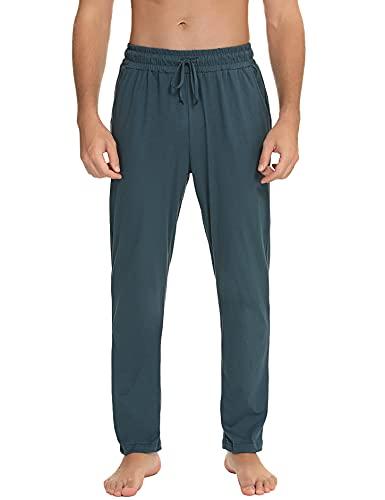 Pantaloni da Pigiama Uomo 100% Cotone Pantaloni Uomo Pantaloni Pigiama a Quadri Tinta Unita Lungo Pantaloni Casual da Casa Morbidi e Comodi con Coulisse e Tasca B-Verde Scuro XL