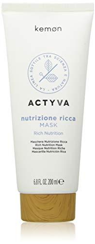 Kemon - Actyva Nutrizione Ricca Mask, Maschera Trattamento Nutriente e Volumizzante per Capelli Secchi, con Avena e Olio d'Oliva, Districante - 200 ml
