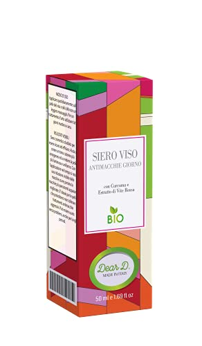 Dear D.®  Siero Antimacchia Viso Giorno Bio Cosmesi Made in Italy 50 ml Crema Schiarente Viso Corpo Uomo e Donna Anti Macchie Scure Occhiaie Acne Antirughe Vegan Azione Idratante