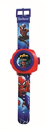 Lexibook Schermo Digitale per Orologio a proiezione regolabile-20 Immagini Spider-Man-per Bambini/Ragazzi-Rosso e Blu