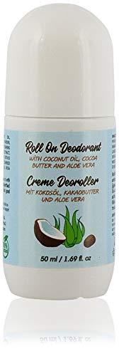 Deodorante Roll On Naturale Crema per Uomo e Donna. Con Olio di cocco, Burro di Cacao e Aloe Vera Senza Alluminio e Parabeni. Antitraspirante, 50 ml.