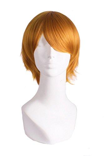 MapofBeauty 30cm/ 12 Pollice Medio Lisci Uomo Lisci Parrucche (Arancione)