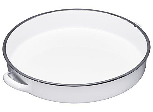 Kitchencraft Living Nostalgia Deep, Vassoio da Portata smaltato, Bianco e Grigio, 36,5cm