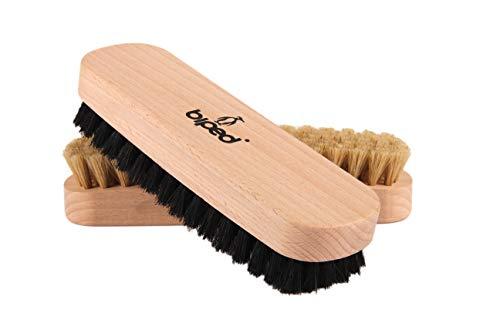 biped Set di 2 pezzi – Spazzola per scarpe in legno di faggio con setole naturali – per la pulizia o per la lucidatura z2345 (1 x luminosi / 1 x scuro)