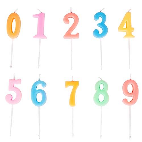 Yue QIN 10 PCS Compleanno Candele Numerali Candele per Feste e Compleanni per Rifornimenti di Celebrazione di Anniversario di Matrimonio di Compleanno(Numero 0-9)