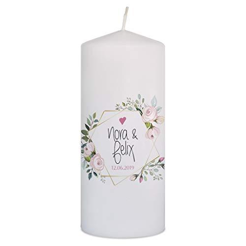 WEDDNG Candela per Matrimonio con Nome e Data, Candele Matrimonio Colore Bianco