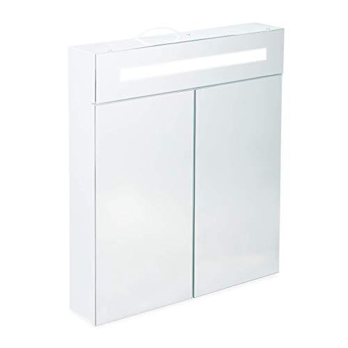 Relaxdays Armadietto da Bagno a Specchio, 2 Ante, 3 Scomparti, Presa Elettrica, Mobiletto Pensile con LED, Glass, Bianco, 67 x 60 x 12 cm