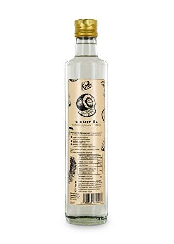 KoRo - Olio MCT C8 500 ml - 100% acido caprilico da olio di cocco, fonte di energia, brucia grassi, gusto neutro, per dieta keto, bottiglia in vetro