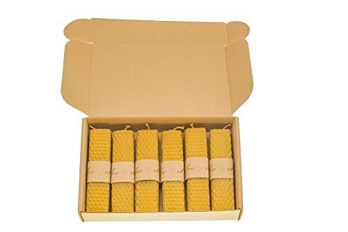 BeeIT Candele quadrate 100% Cera d'api, 6 x Cera d'api Pura, Scatola di Candele quadrate Arrotolate a Mano con Candele pilastro di Cera d'api Naturale 2,5 cm x 11 cm