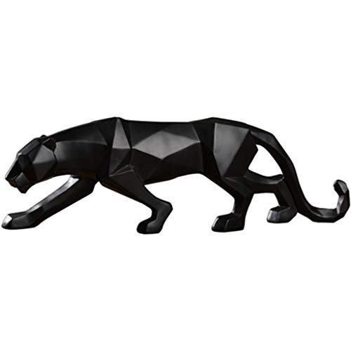 Yuanyuanliu Northern Leopardo Statua Geometrici Multi-sfaccettato Creativo Multilaterale Poligonale Origami Tatuaggi (Nero/Bianco) (Color : Black)