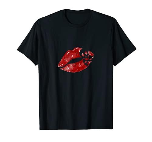 Rossetto rosso bacio bacio bacio bocca Halloween costume Maglietta
