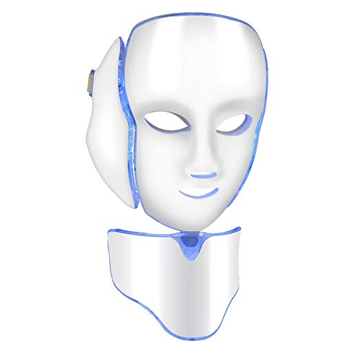 Maschera viso per terapia della luce LED, 7 colori, ringiovanimento della pelle, acne, lentiggini, pori, rughe, trattamento per la cura della pelle del viso