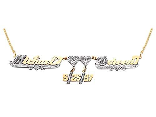 RYLOS Collane da donna in oro giallo o oro bianco 14 carati con diamanti personalizzati 2 nomi, 2 cuori, 4 pezzi, collana con targhetta per nome, ordine speciale, realizzata su ordinazione