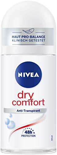 NIVEA Dry Comfort Deo Roll On (50 ml), Antitraspirante per ogni situazione quotidiana, con protezione antibatterica, deodorante 48h