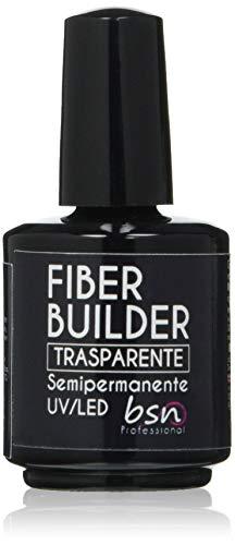 Beauty Space Nails FIBER BUILDER SOAK OFF Clear Base Soak Off Semipermanente con Fibre di Vetro Costruttore Modellante UV, Trasparente - 15 Ml