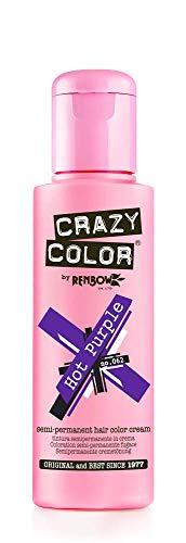 Crazy Color Crema Colorante Semipermanente per Capelli, Hot Purple,100 ml