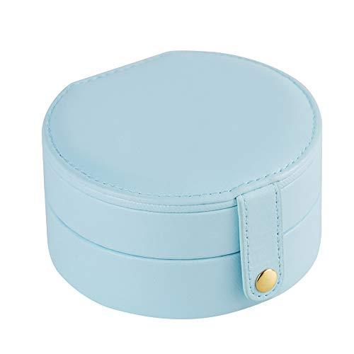 LUCKLY Jewelry Box Avanzate Principessa Portagioie 3 Stratiscatola Piccolo Portagioie Portatile con Specchio, per Anelli Braccialetti Orecchini Rossetto Rimovibili Scomparti Portagioielli,Light Blue