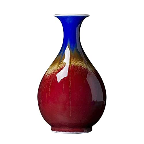 ZHEN GUO SHOP Handmade Jingdezhen Ceramica Grande Cinese Rosso smaltato Rosso Vaso in Ceramica Antico vetroso in Porcellana Ornamenti Lang hongyu pentola Primavera