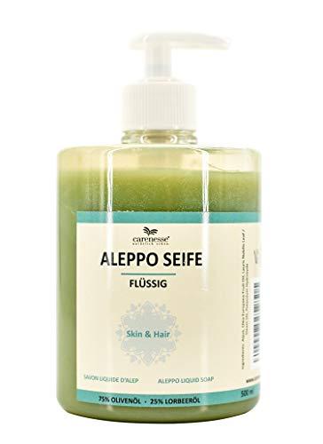 Carenesse Sapone Liquido Aleppo, 75% olio d'oliva + 25% olio di alloro. 500 ml, prodotto naturale, 100% vegetale, sapone liquido naturale
