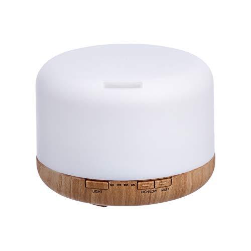 Amazon Basics - Diffusore di oli essenziali per aromaterapia, a ultrasuoni, 500 ml, base con finitura color legno classico con venature, include timer e luce notturna di 7 colori