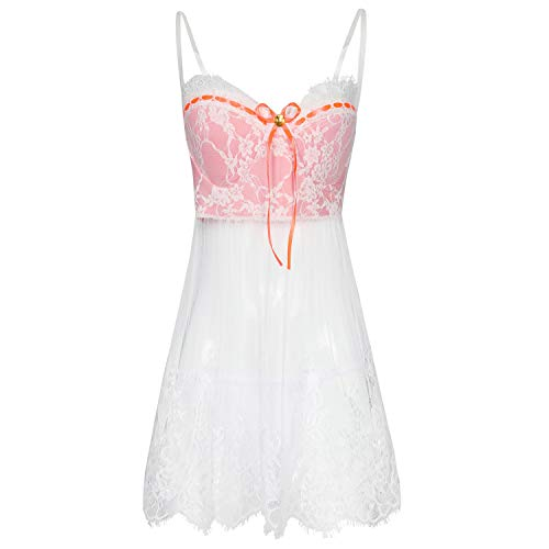 mdtep Ladies Pizzo Lace Sexy Sling Dress Transparent Nightdress Ladies Sexy Lingerie Petticoat da Donna (Color : White, Size : Medium)