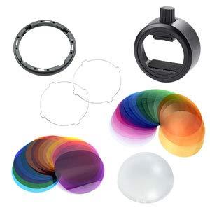 Godox Kit accessori con filtri colorati Adattatore a testa tonda S-R1 Diffusore a cupola e portafiltri per Godox H200R / Flash Godox V1 Godox AD200 Godox V860II Godox TT685 Serie